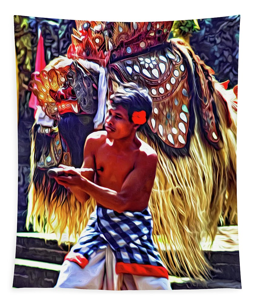 Steve Harrington Tapestry featuring the photograph Bali Barong And Kris Dance - Paint by Steve Harrington