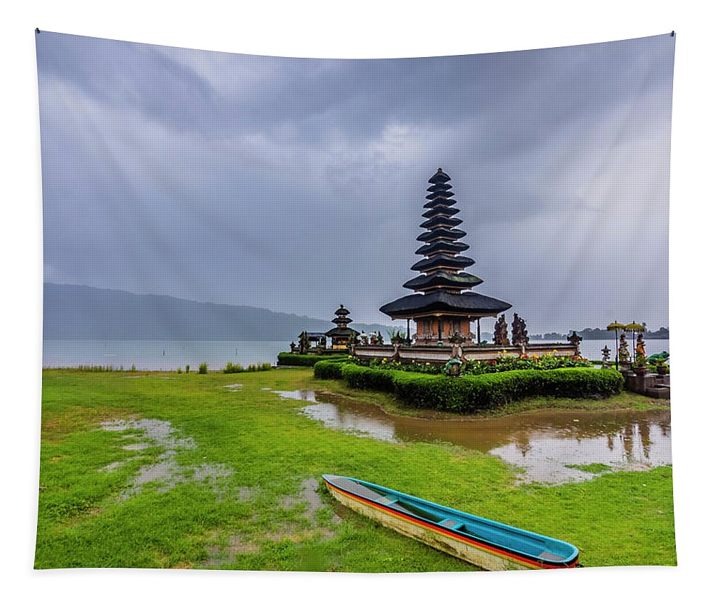 Ancient Tapestry featuring the photograph Bali Lake Temple by Jijo George