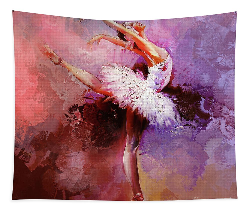Swan Lake Tapestry featuring the painting Ballerina 08821 by Gull G