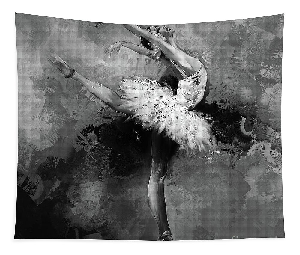 Swan Lake Tapestry featuring the painting Ballerina 09912 by Gull G
