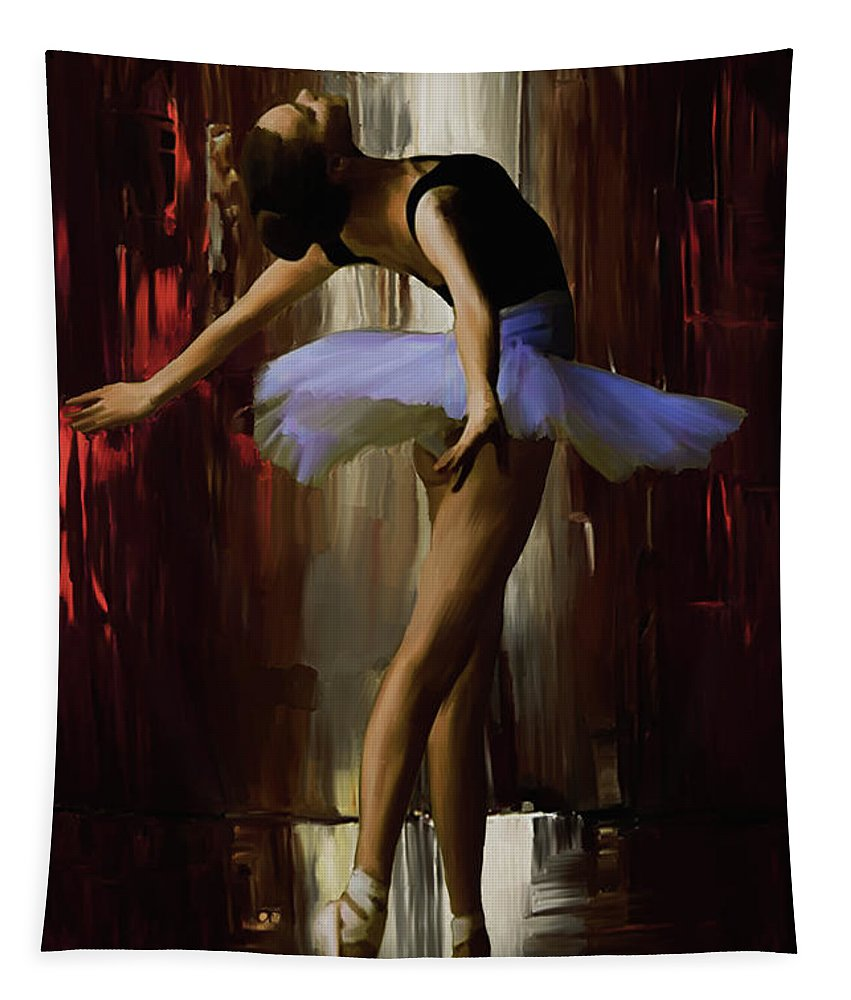 Ballerina Tapestry featuring the painting Ballerina 0xd09 by Gull G