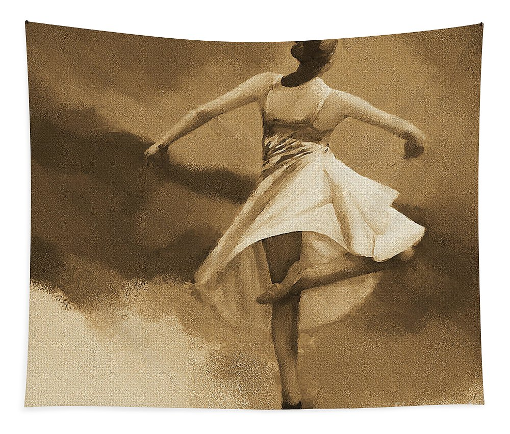 Swan Lake Tapestry featuring the painting Ballerina Dance 0530 by Gull G