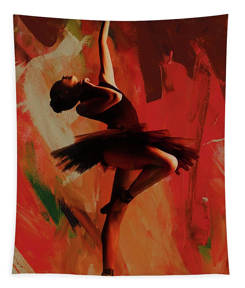 Ballerina Tapestry featuring the painting Ballerina Dance 0800 by Gull G