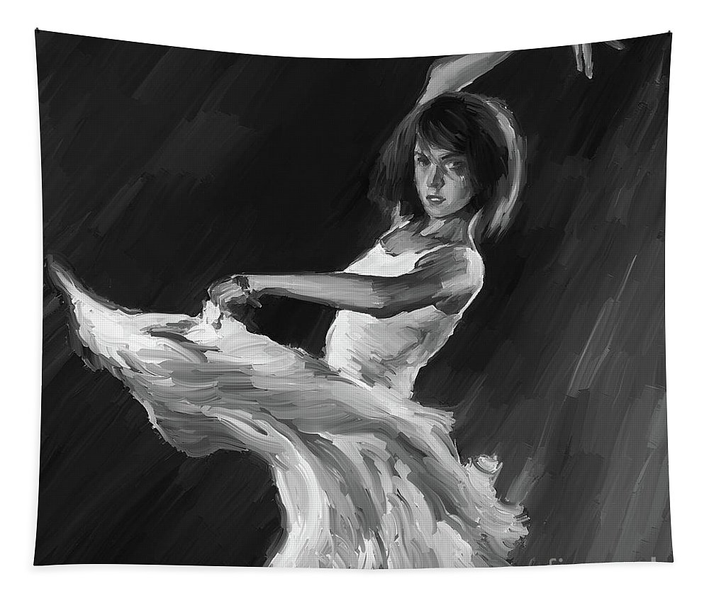 Swan Lake Tapestry featuring the painting Ballet Dance 0905 by Gull G