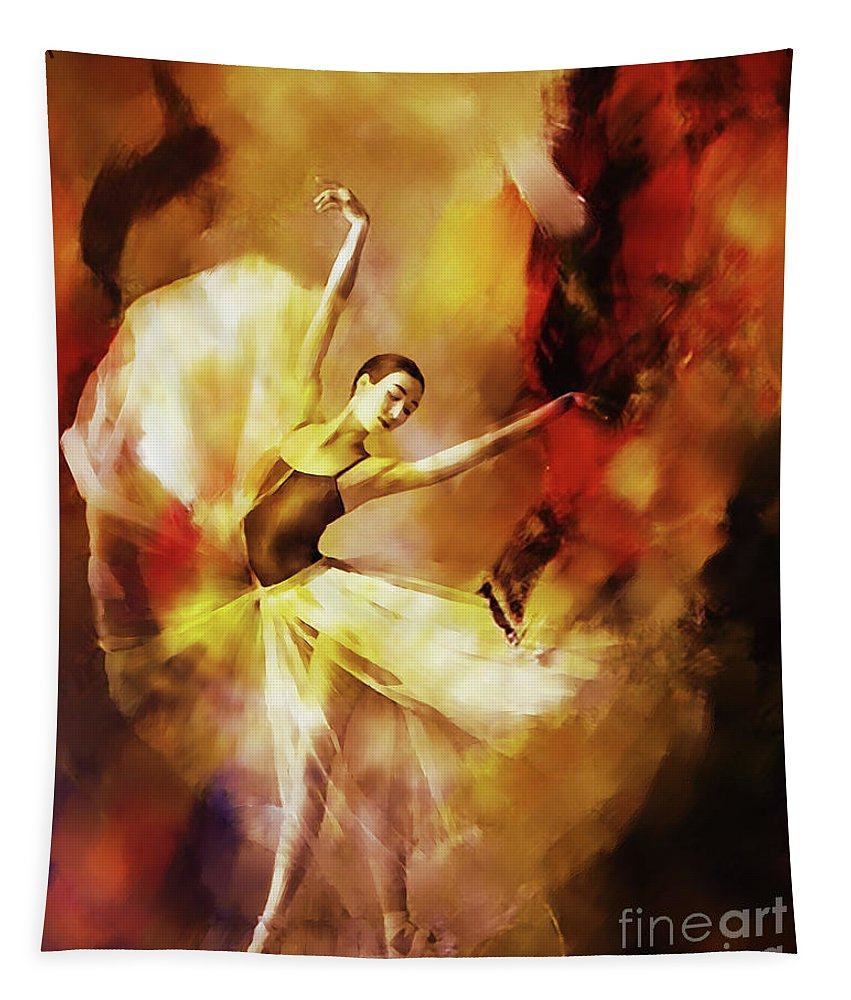 Swan Lake Tapestry featuring the painting Ballet Dance 3390 by Gull G