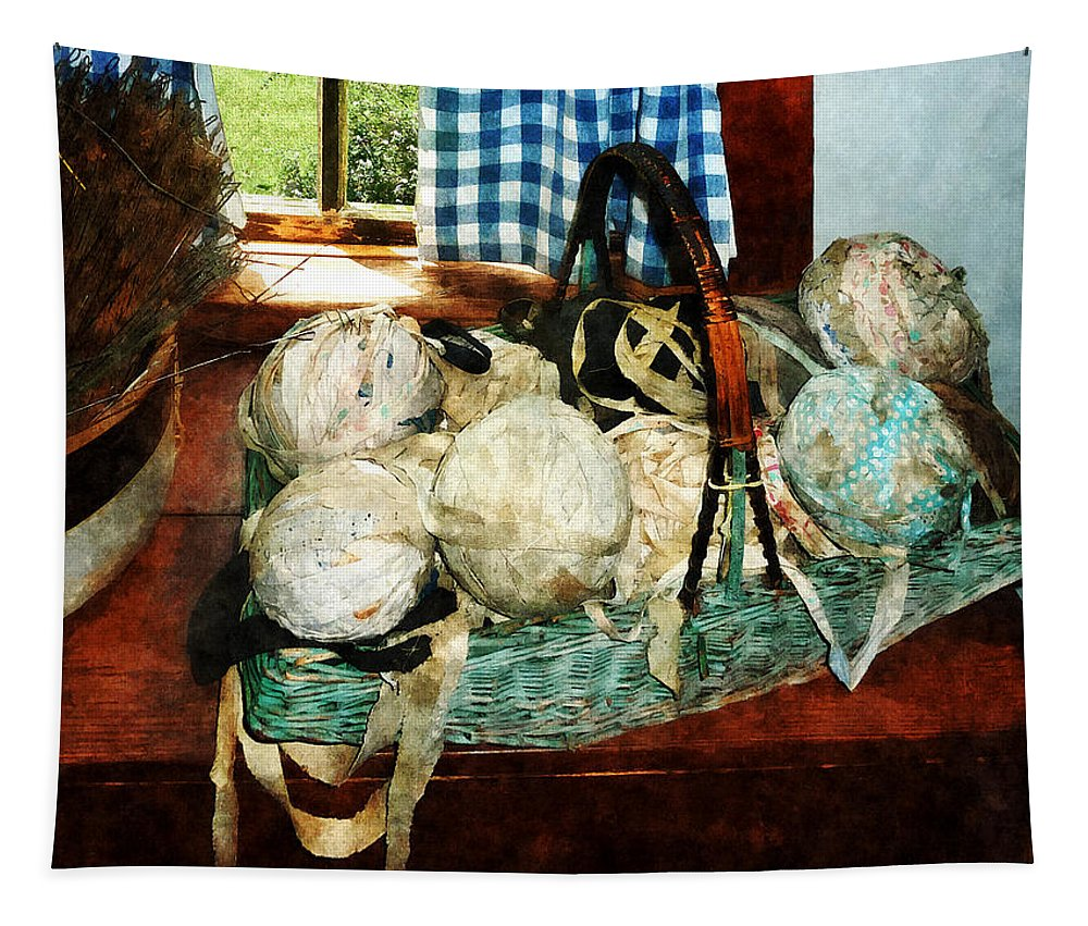 Sew Tapestry featuring the photograph Balls Of Cloth Strips In Basket by Susan Savad