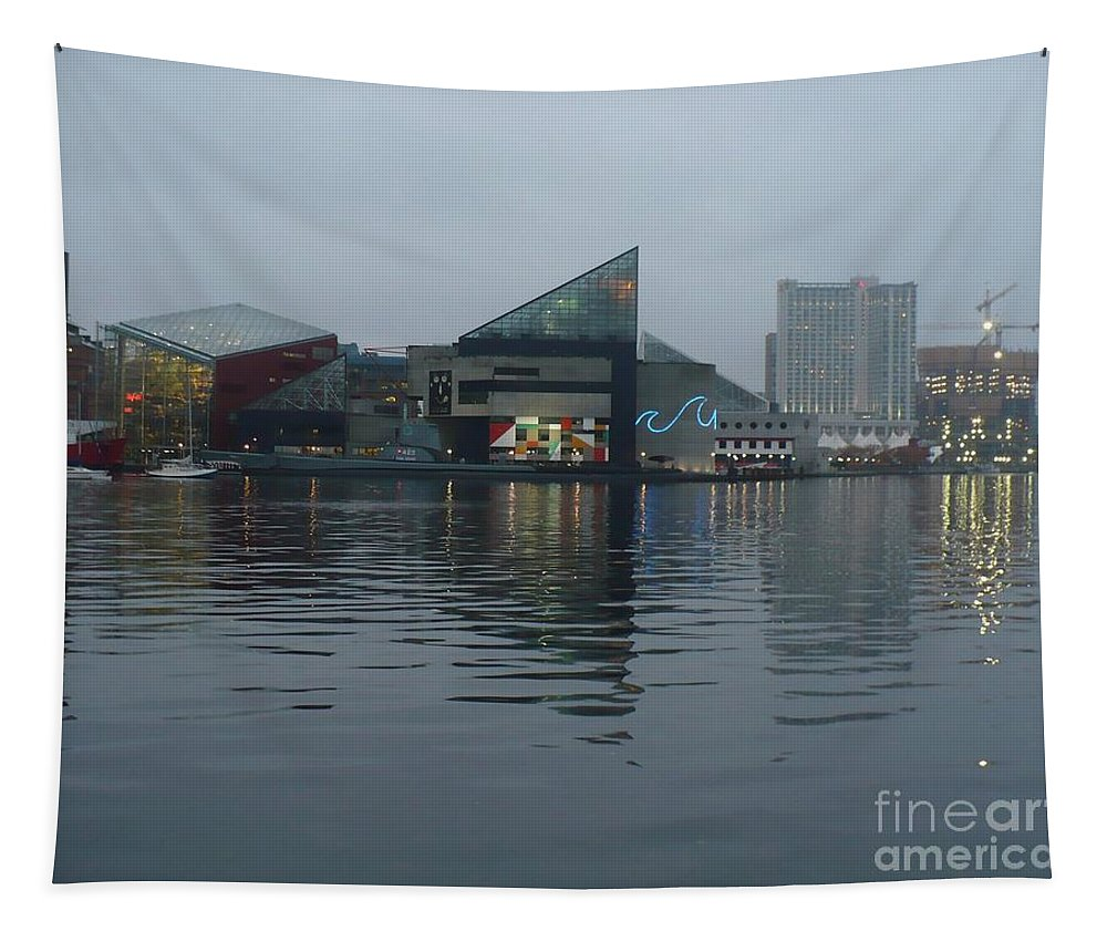 Baltimore Tapestry featuring the photograph Baltimore Harbor Reflection by Carol Groenen