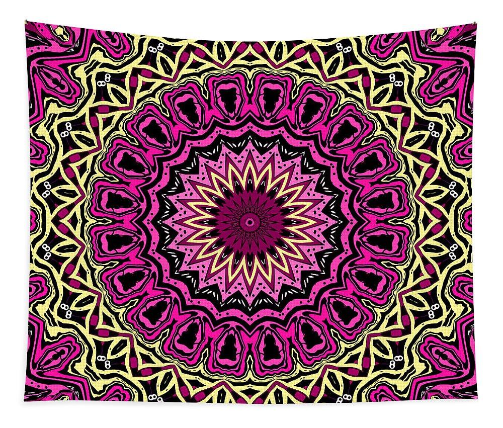 Digital Tapestry featuring the digital art Band Of Gold Mandala by Joy McKenzie