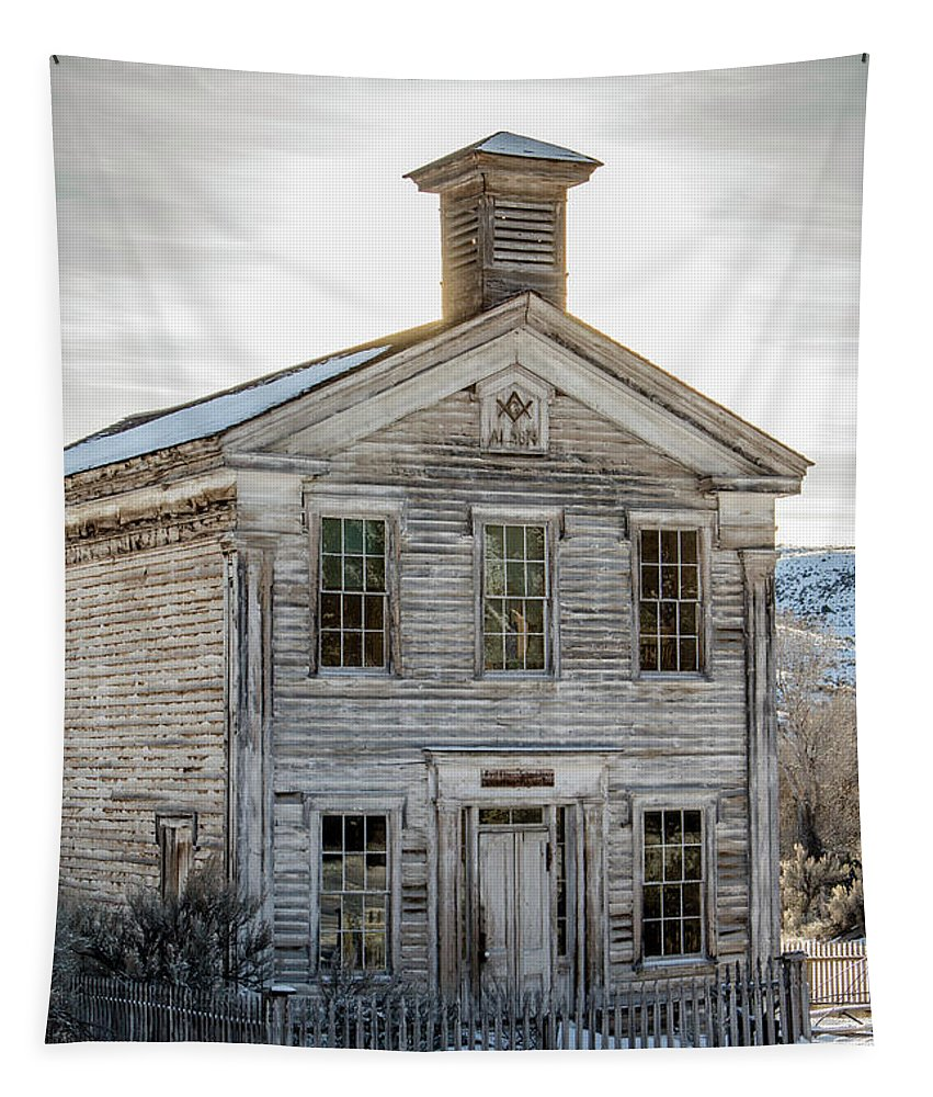 Bannack State Park Tapestry featuring the photograph Bannack Schoolhouse And Masonic Temple by Teresa Wilson