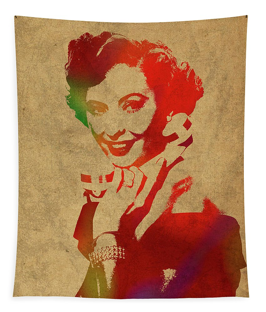 Barbara Tapestry featuring the mixed media Barbara Stanwyck Watercolor Portrait by Design Turnpike