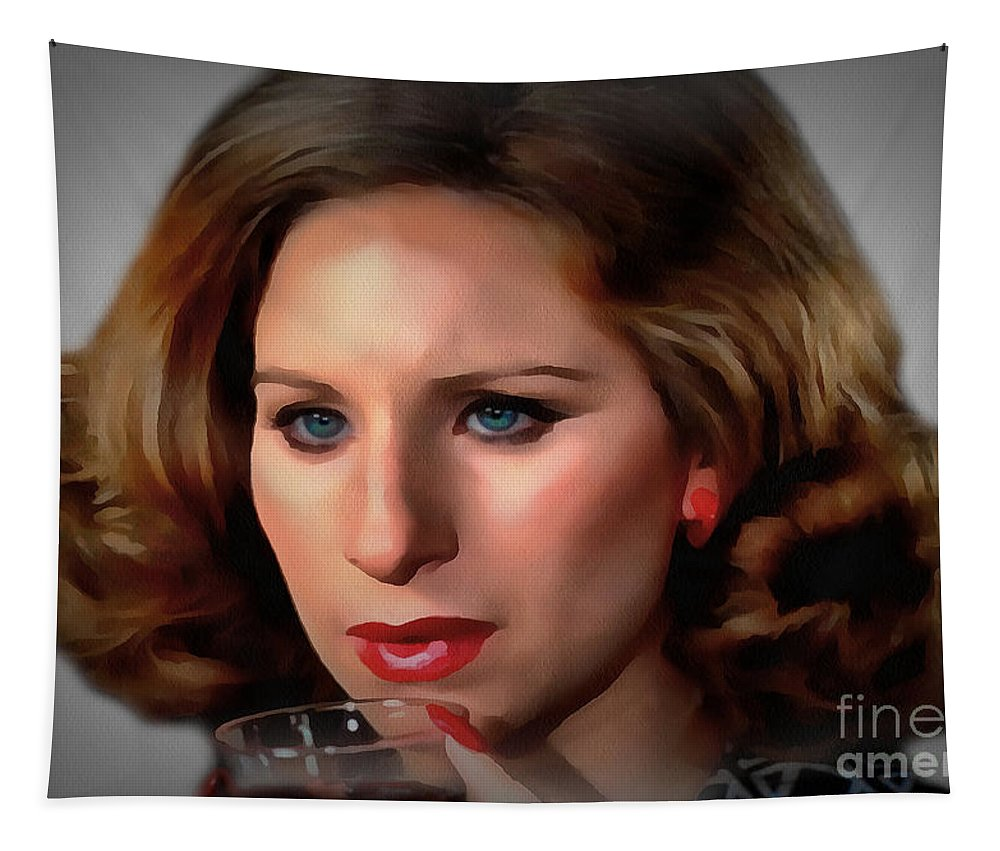 Barbara Streisand Tapestry featuring the painting Barbara Streisand Collection - 1 by Sergey Lukashin