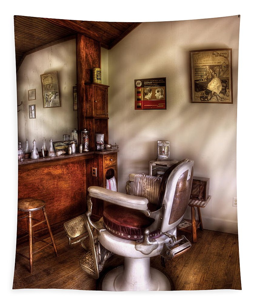 Barber Tapestry featuring the photograph Barber - In The Barber Shop by Mike Savad
