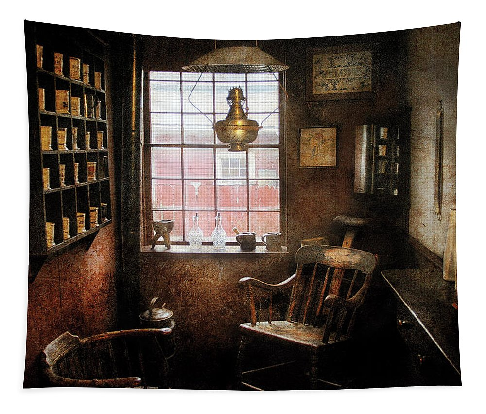 Barber Tapestry featuring the photograph Barber - Remembering The Old Days by Mike Savad