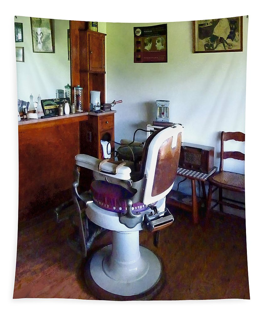 Barber Chair Tapestry featuring the photograph Barber - Old-fashioned Barber Chair by Susan Savad