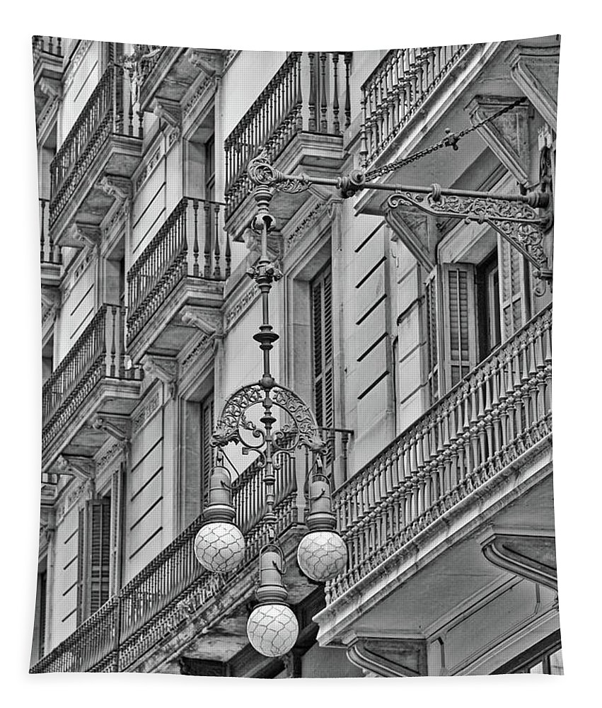 Balconies Tapestry featuring the photograph Barcelona Balconies In Black And White by Carol Groenen