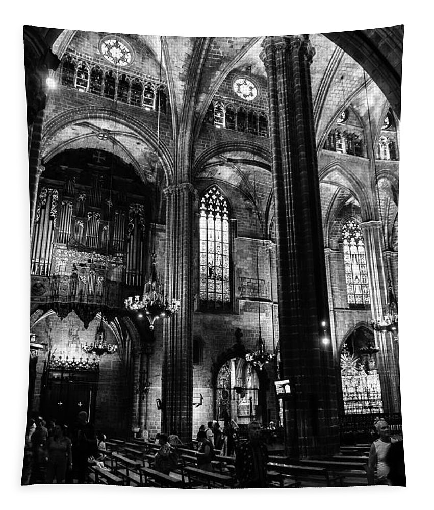 Barcelona Tapestry featuring the photograph Barcelona Cathedral Interior Bw by RicardMN Photography