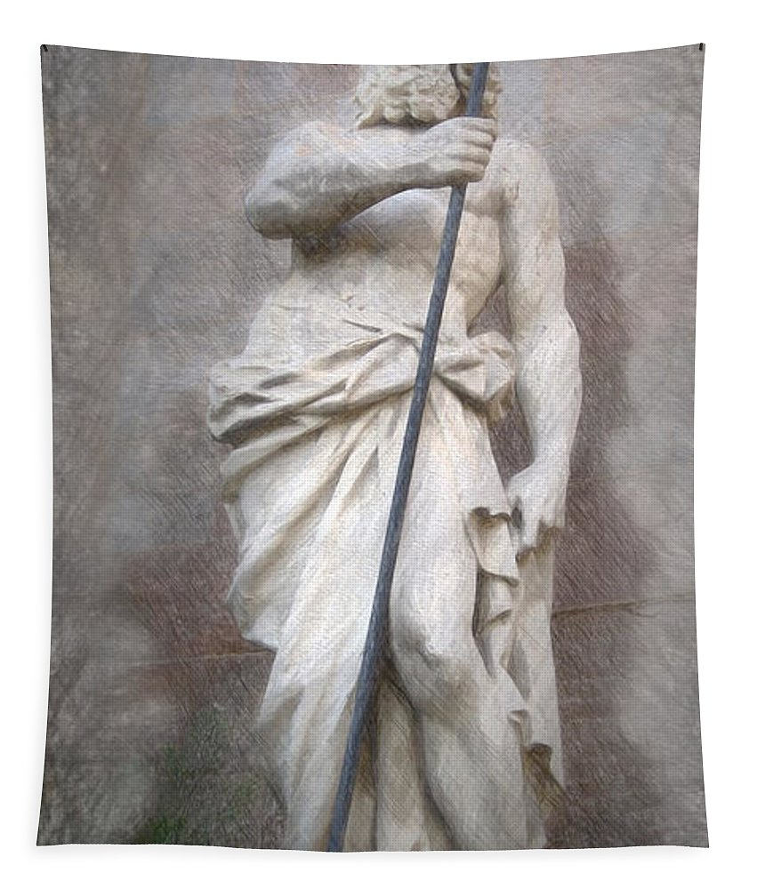Barcelona Tapestry featuring the painting Barcelona - Neptune Statue by Joaquin Abella