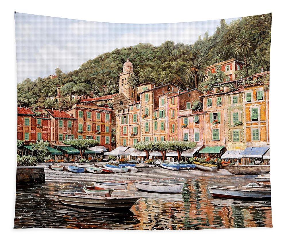 Portofino Tapestry featuring the painting barche a Portofino by Guido Borelli