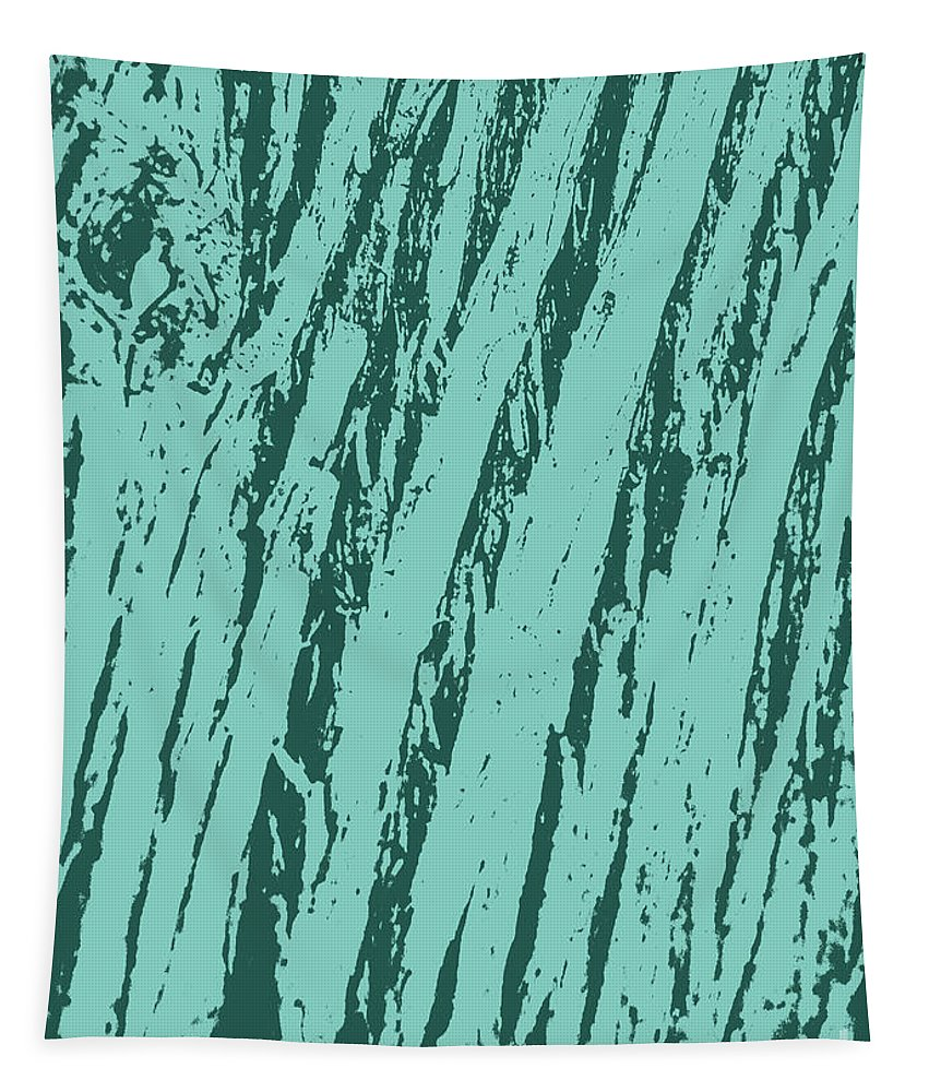Tree Tapestry featuring the digital art Bark Texture Turquoise by Eddie Barron