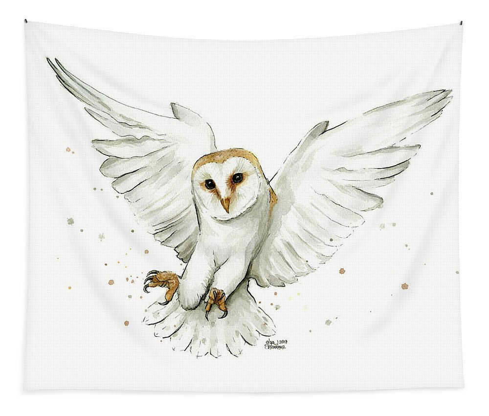 Owl Tapestry featuring the painting Barn Owl Flying Watercolor by Olga Shvartsur