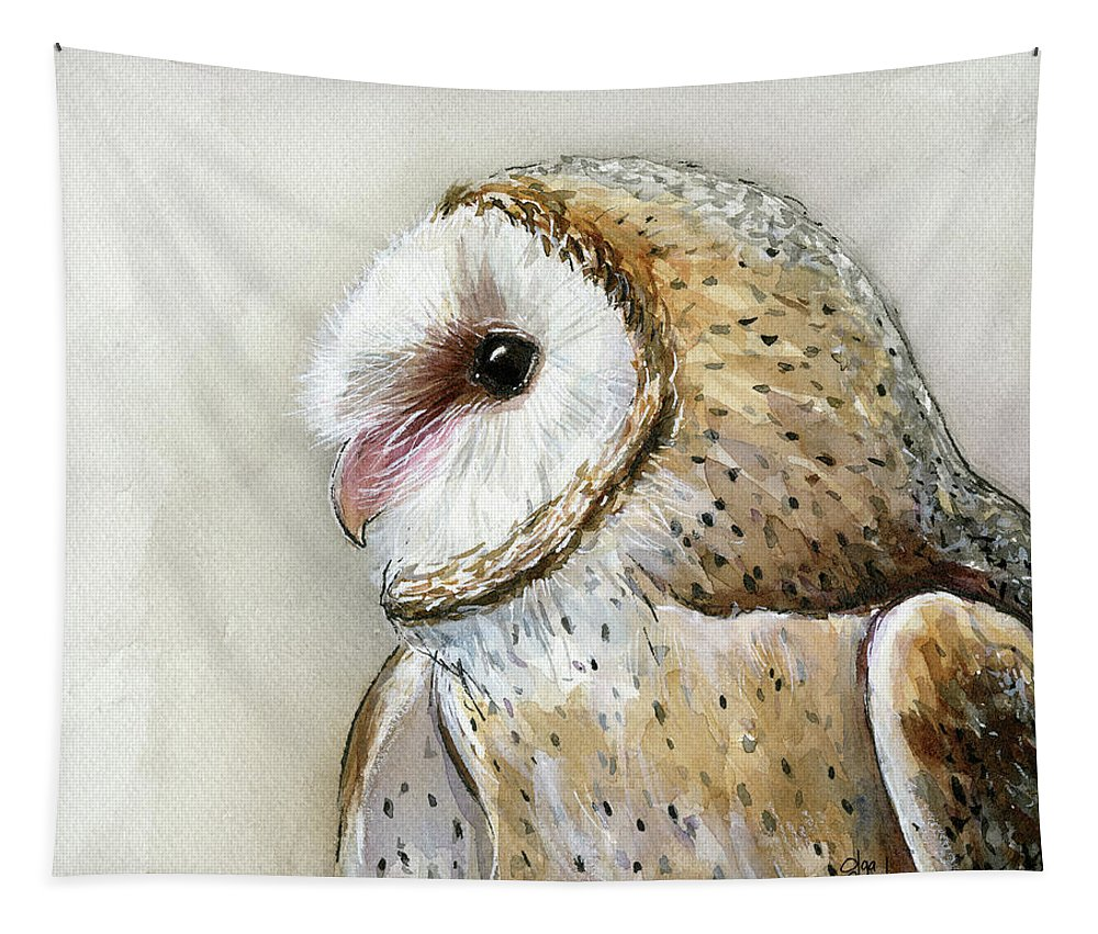 Owl Tapestry featuring the painting Barn Owl Watercolor by Olga Shvartsur