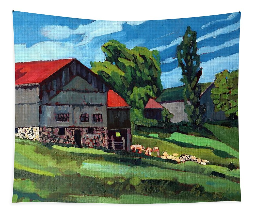 814 Tapestry featuring the painting Barn Roofs by Phil Chadwick