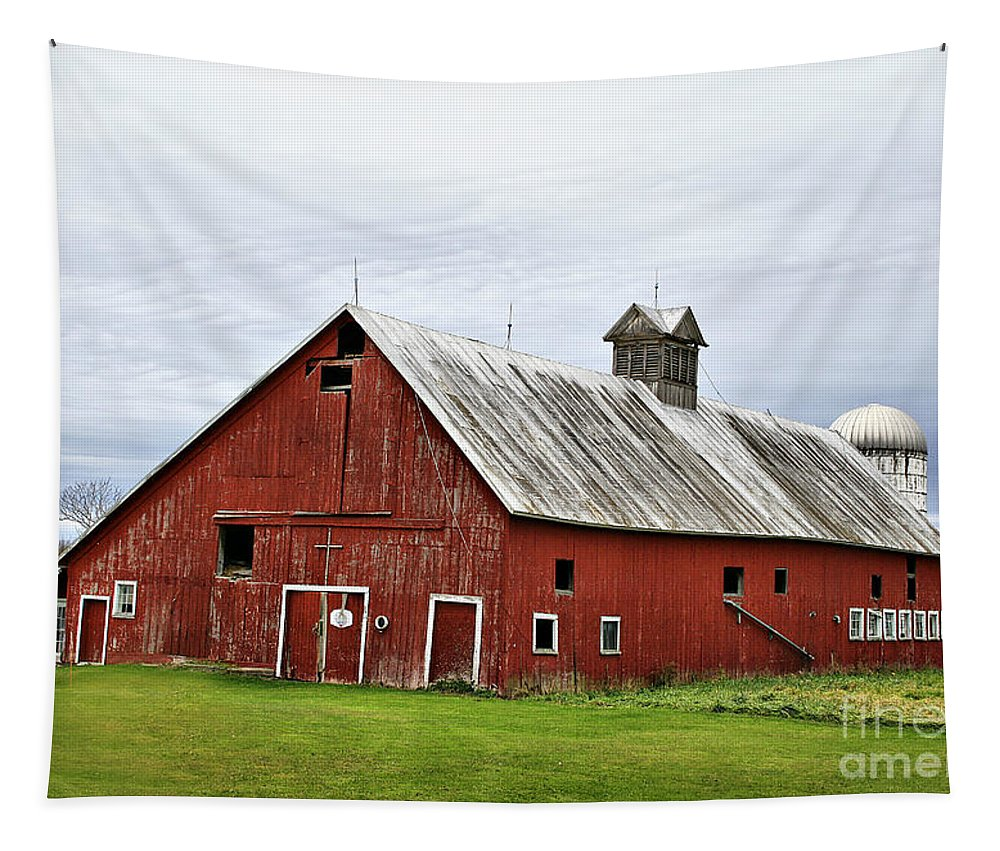 Barn Tapestry featuring the photograph Barn With A Cross by Deborah Benoit