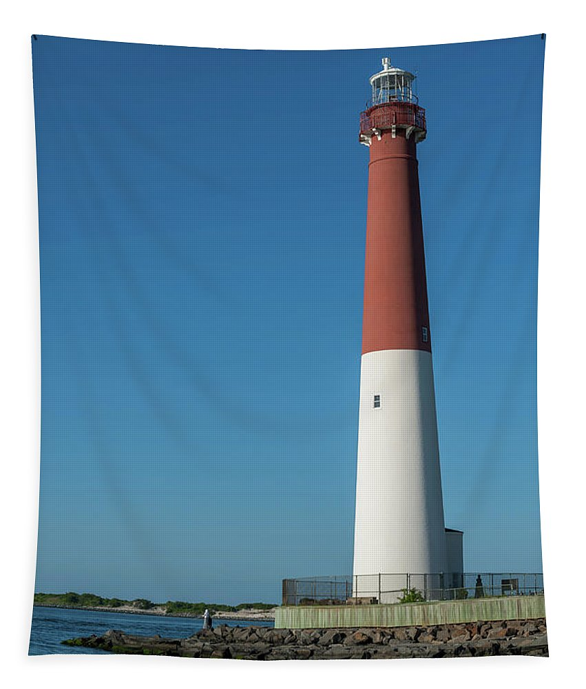 Terry Deluco Tapestry featuring the photograph Barnegat Lighthouse And Inlet New Jersey by Terry DeLuco