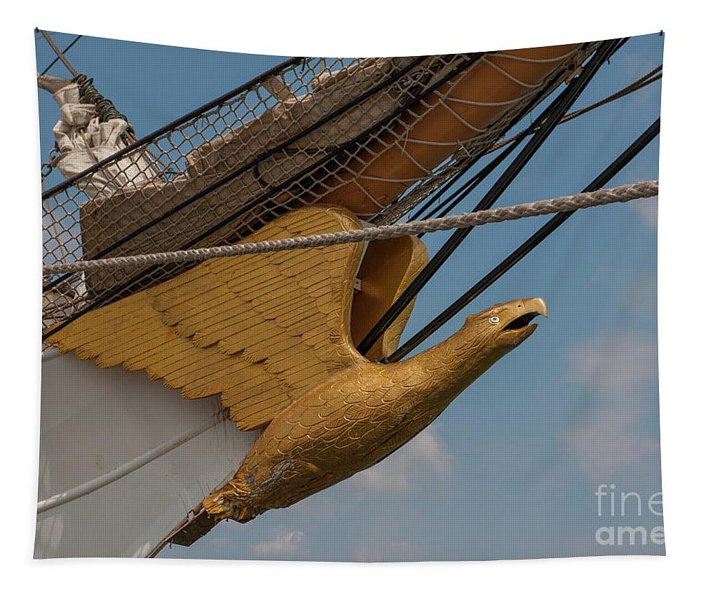 United States Coast Guard Eagle Masthead Tapestry featuring the photograph Barque Eagle Masthead by Dale Powell