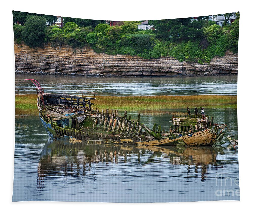 Barry Old Harbour Tapestry featuring the photograph Barry Island Wrecks 2 by Steve Purnell
