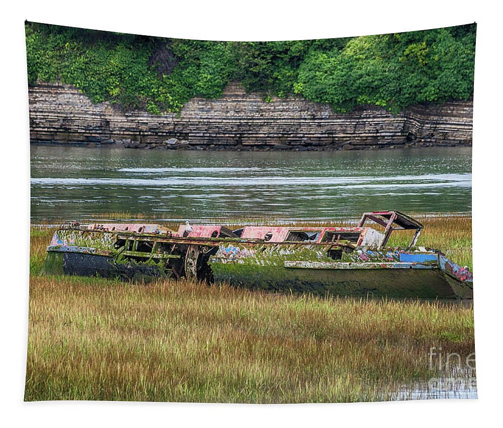 Barry Old Harbour Tapestry featuring the photograph Barry Island Wrecks 4 by Steve Purnell