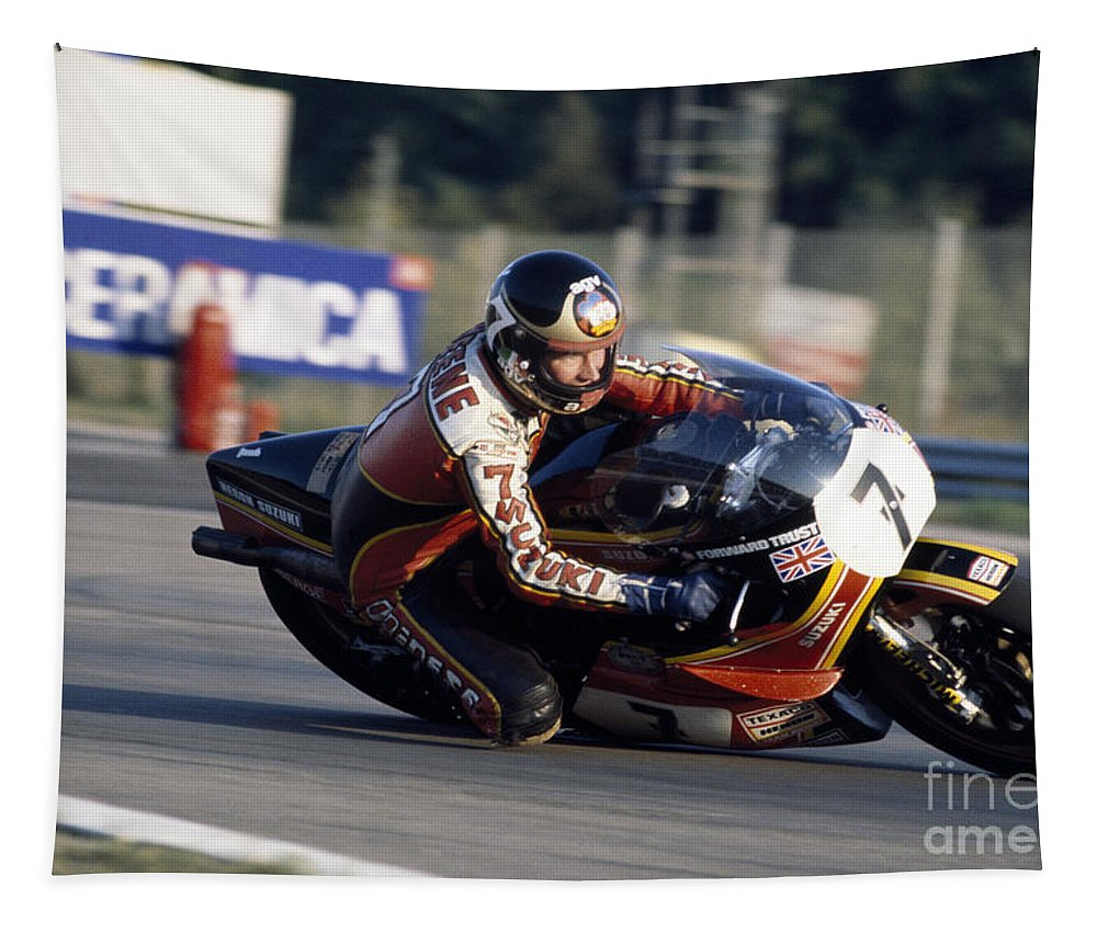 Barry Sheene Tapestry featuring the photograph Barry Sheene. 1978 Nations Motorcycle Grand Prix by Oleg Konin