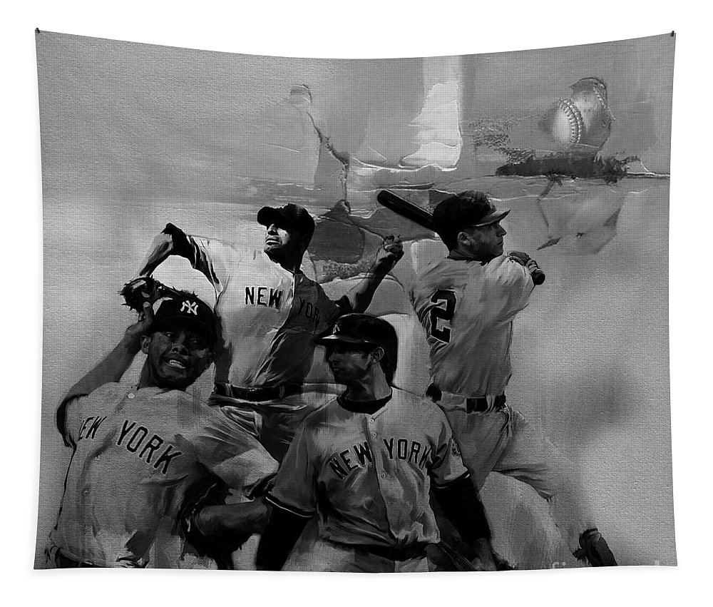 Baseball Tapestry featuring the painting Base Ball Players by Gull G