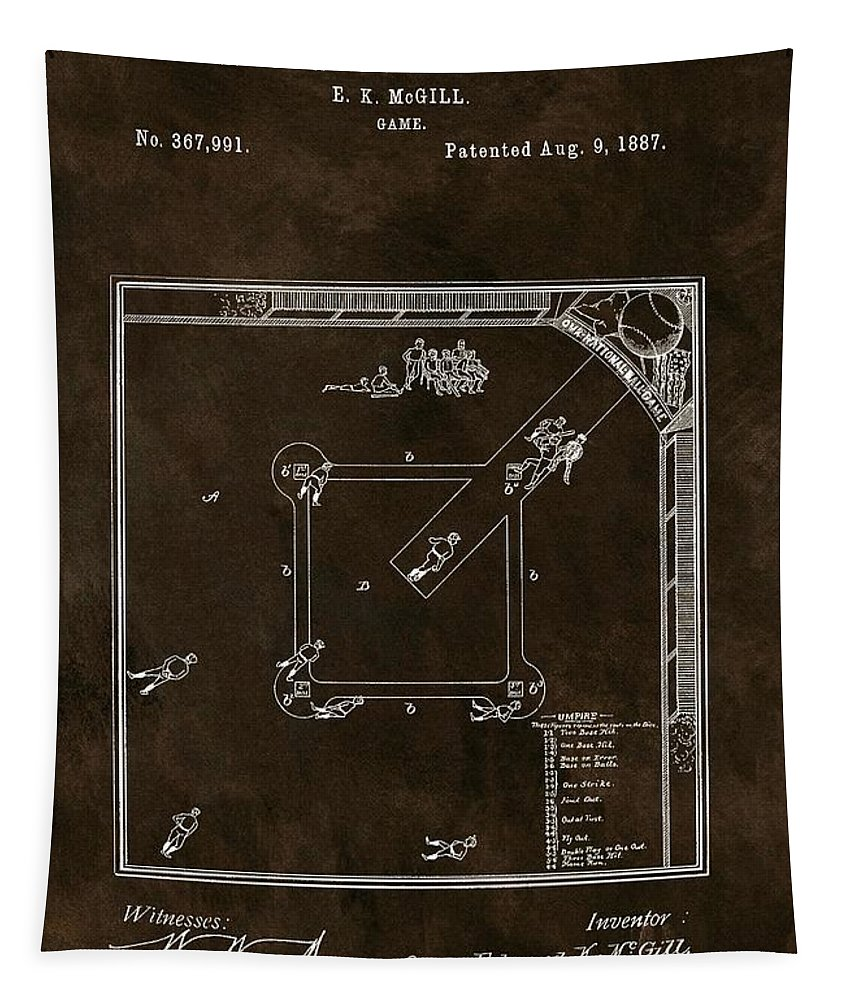 The Invention Of Baseball Tapestry featuring the drawing Baseball Game Patent by Dan Sproul