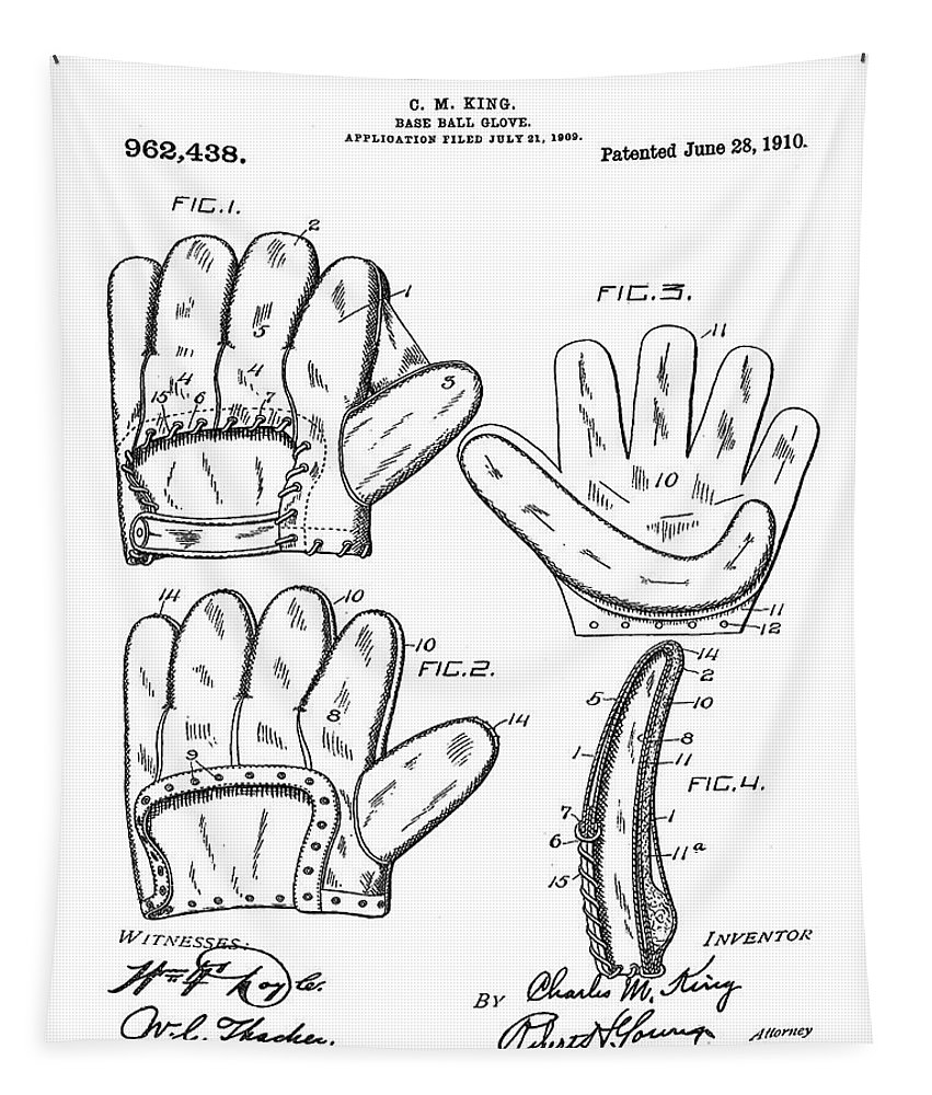 Baseball Tapestry featuring the photograph Baseball Glove Patent 1910 by Bill Cannon