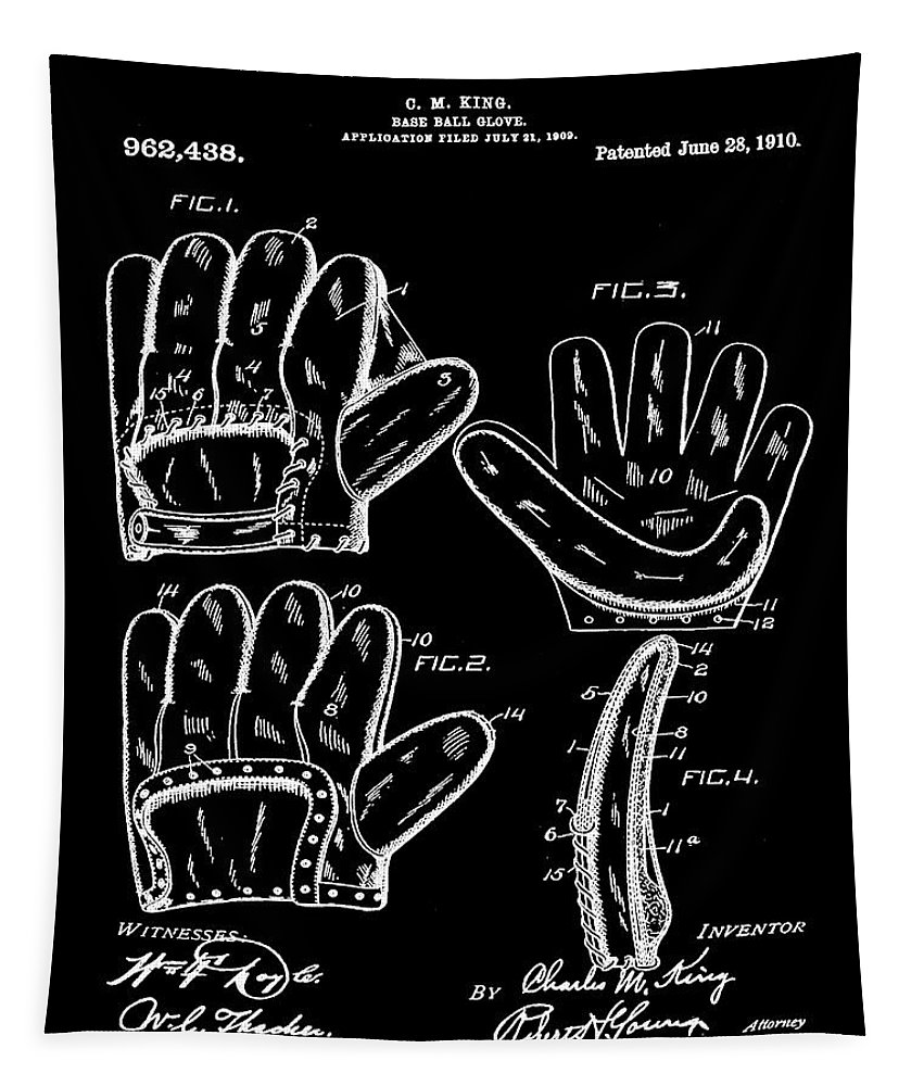 Baseball Tapestry featuring the photograph Baseball Glove Patent 1910 In Black by Bill Cannon