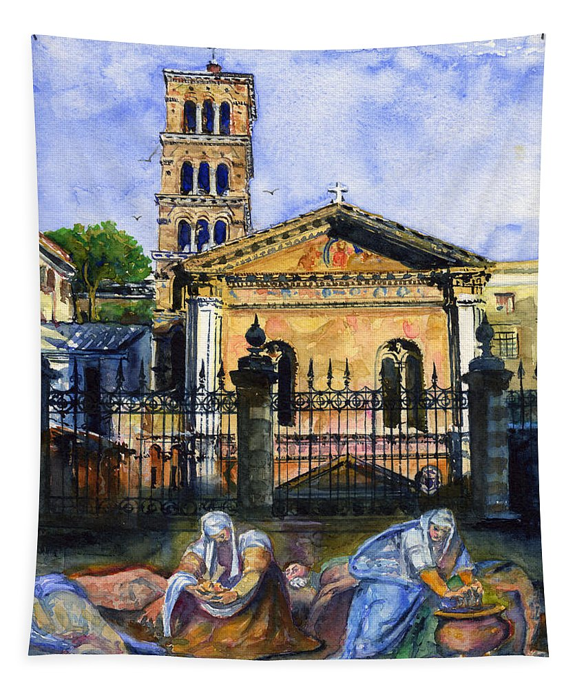 Rome Tapestry featuring the painting Basilica Di Pudenziana by John D Benson