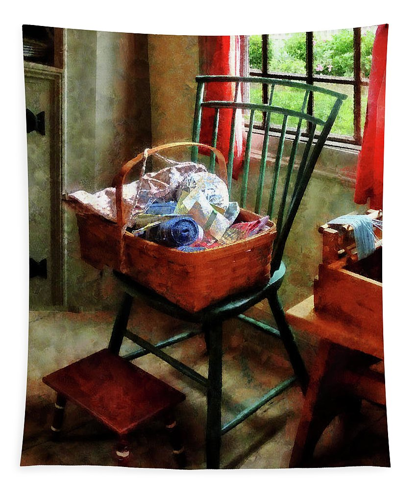 Basket Tapestry featuring the photograph Basket Of Cloth And Yarn On Chair by Susan Savad