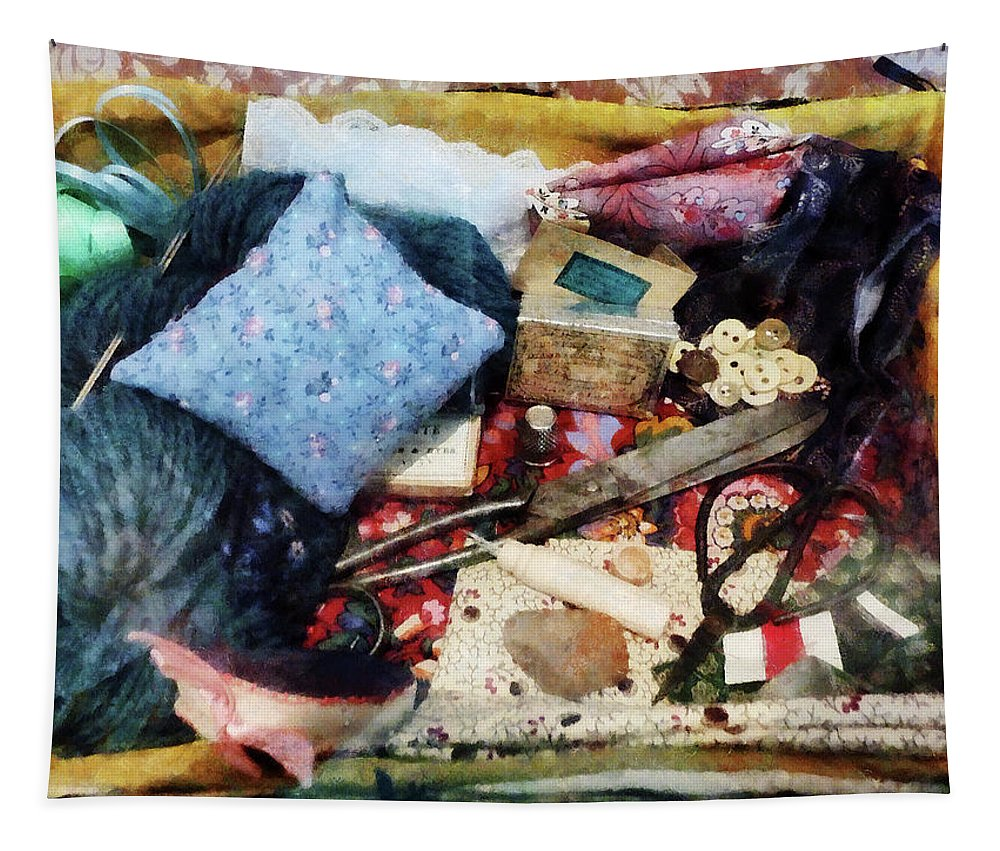 Button Tapestry featuring the photograph Basket Of Sewing Supplies by Susan Savad