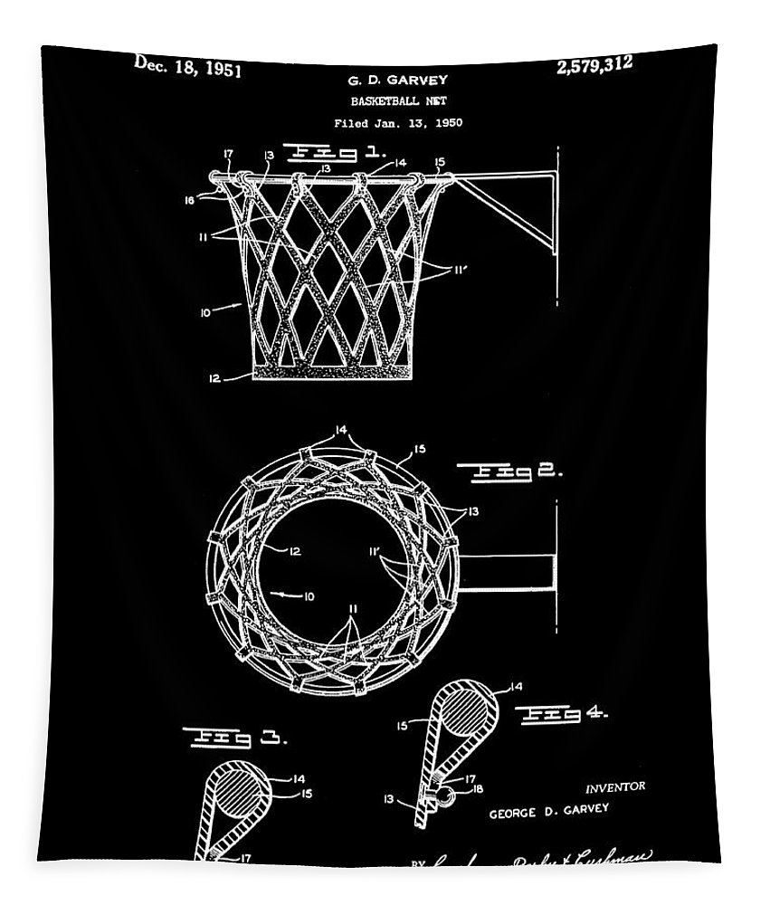 Basketball Tapestry featuring the drawing Basketball Net Patent 1951 In Black by Bill Cannon