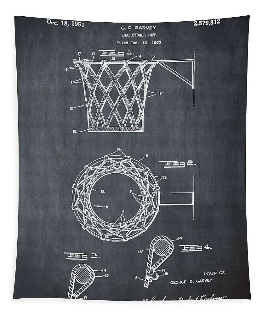 Basketball Tapestry featuring the drawing Basketball Net Patent 1951 In Chalk by Bill Cannon