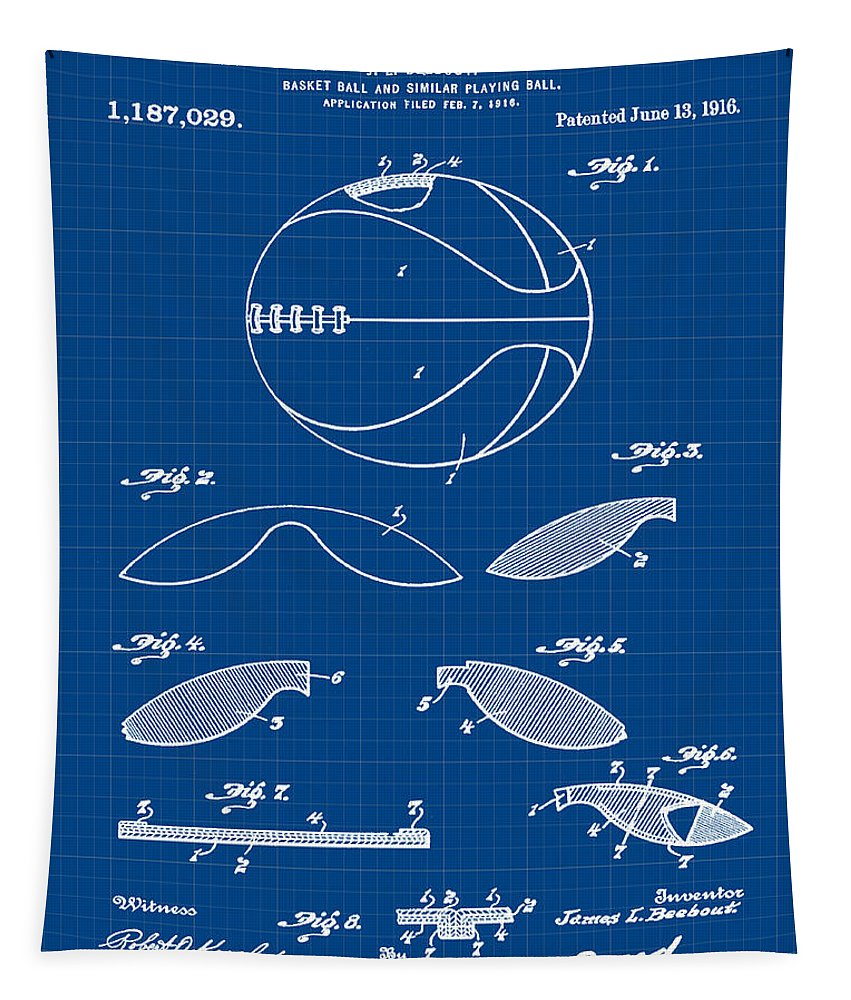 Basketball Tapestry featuring the photograph Basketball Patent 1916 Blue Print by Bill Cannon