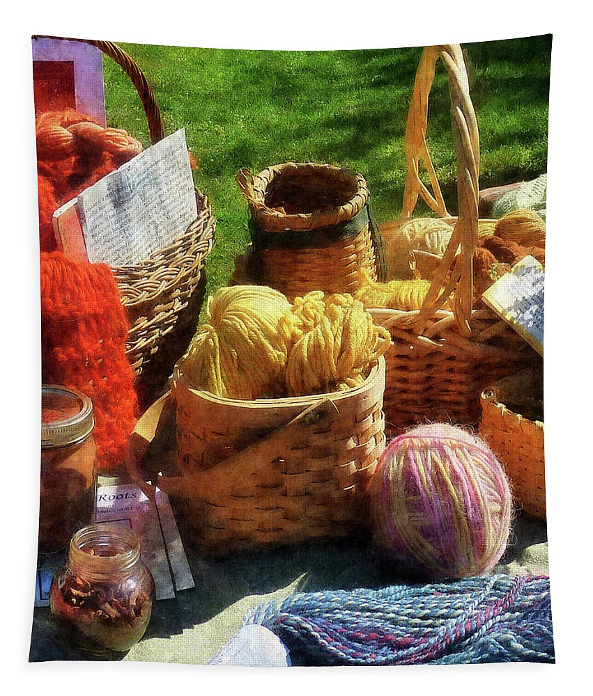 Basket Tapestry featuring the photograph Baskets Of Yarn At Flea Market by Susan Savad