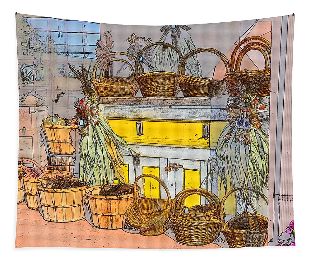 Baskets Tapestry featuring the digital art Baskets by Robert Nelson