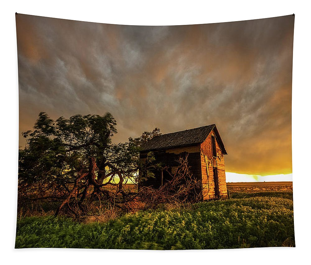 Barn Tapestry featuring the photograph Basking In The Glow - Old Barn At Sunset In Oklahoma Panhandle by Southern Plains Photography