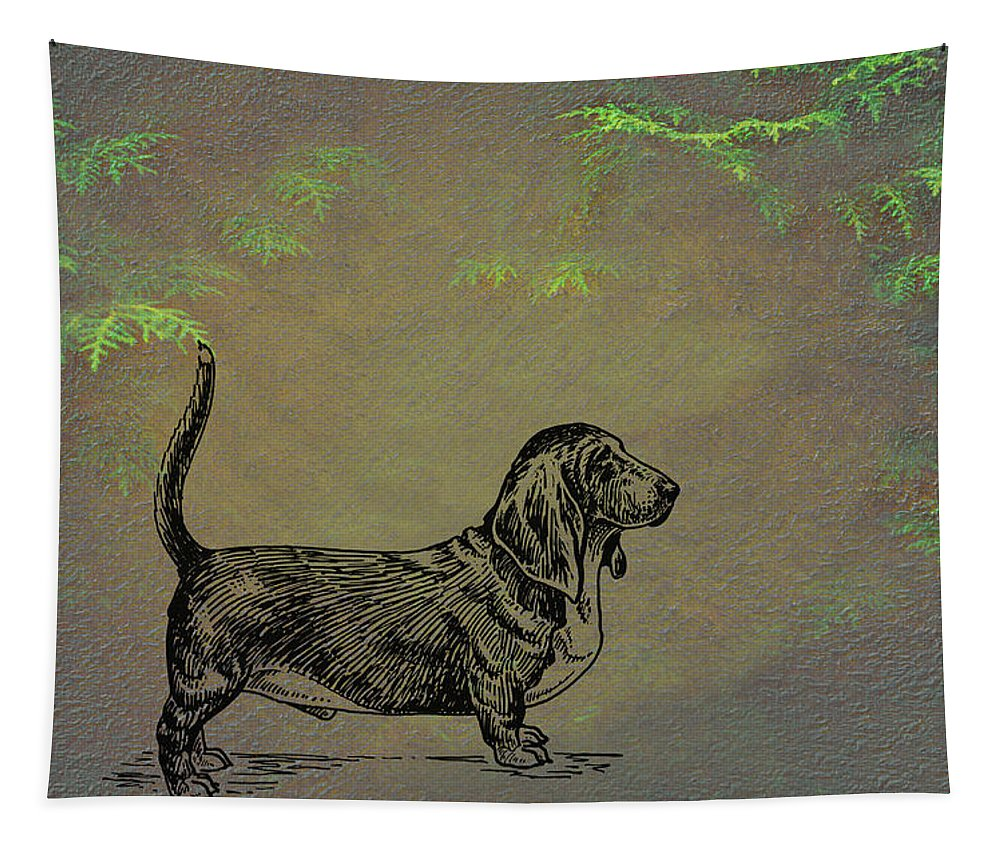 Basset Hound Tapestry featuring the mixed media Basset Hound by Movie Poster Prints