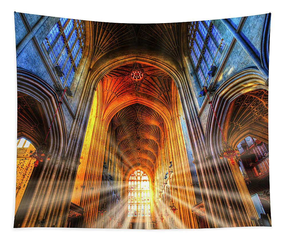 Glass Sun Rays Tapestry featuring the photograph Bath Abbey Sun Rays by David Pyatt