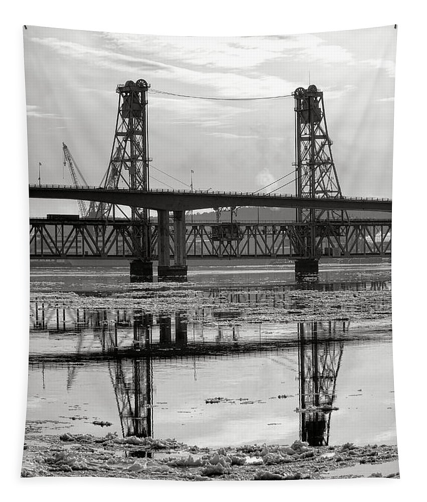 Maine Tapestry featuring the photograph Bath Bridges In Winter by Olivier Le Queinec