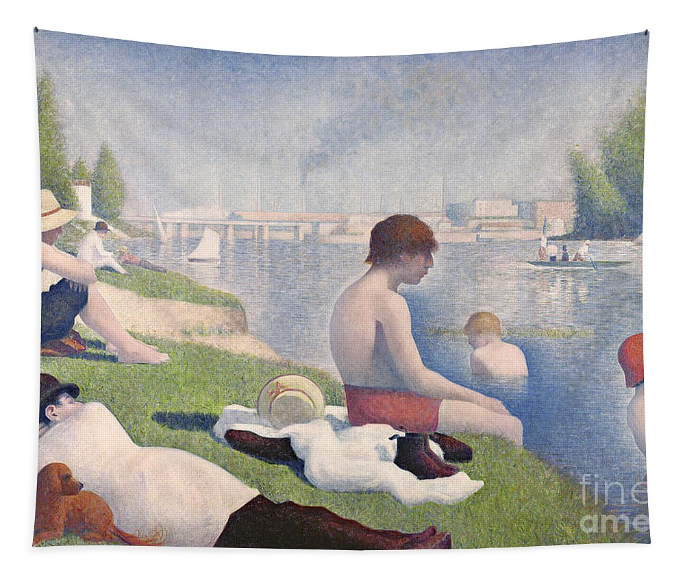 Pointillist; Swimming; Neo Impressionist; Bank; Seine; River; Dog; Puppy;l Ying; Baignade; Crt; Dgt; Golden Section Tapestry featuring the painting Bathers At Asnieres by Georges Pierre Seurat