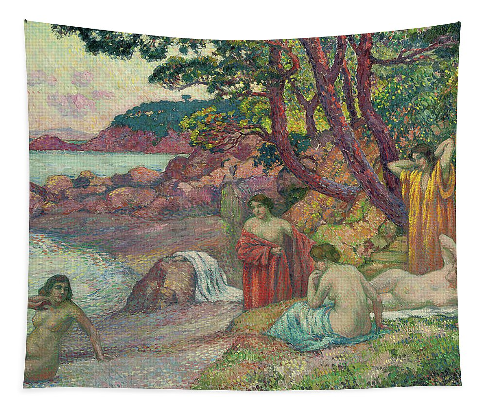 Bathers Tapestry featuring the painting Bathers At Cap Benat, 1909 by Theo van Rysselberghe